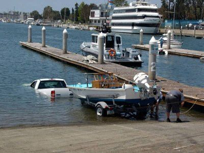 man in Florida shows us how not to launch a boat.