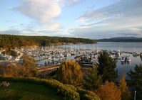 The view from a Friday Harbour Hotel overlooking the Port of Friday Harbor